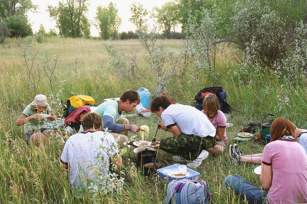 Meal time at a South Saskatchewan River campsite