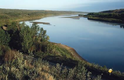 Morning light on the North Saskatchewan River valley