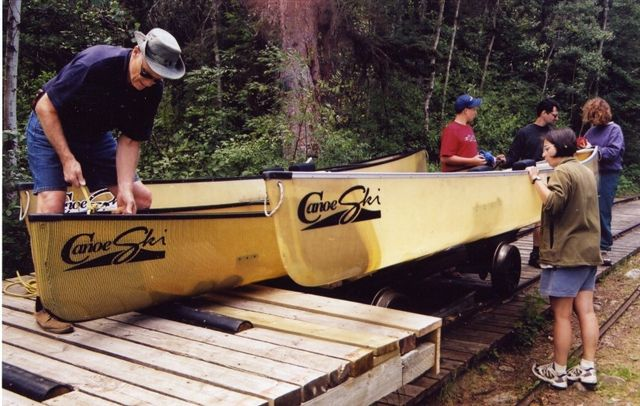 Marine railway portage on the Rapid River, Lac La Ronge