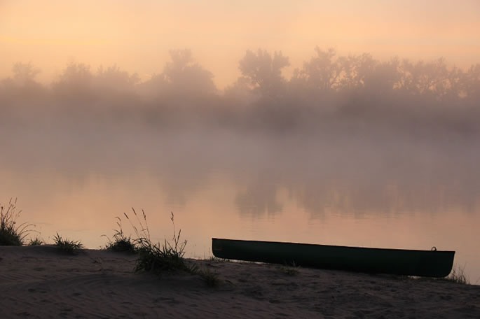 Misty sunrise on the South Saskatchewan River