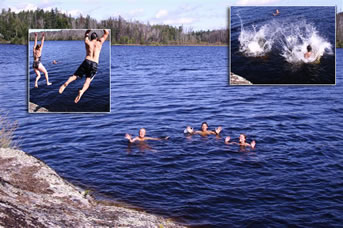 Swimming in a northern Saskatchewan lake