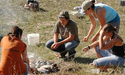 Old-fashioned corn roast on the South Saskatchewan riverbank