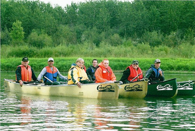 A CanoeSki tour group on the South Saskatchewan River