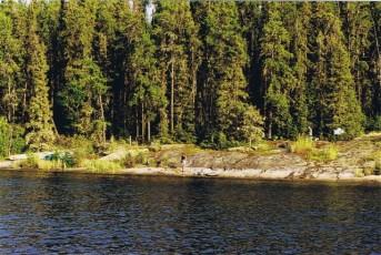 Canadian Shield rock shoreline of Otter Lake, Churchill River