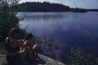 Massage after a day of canoeing the Churchill River