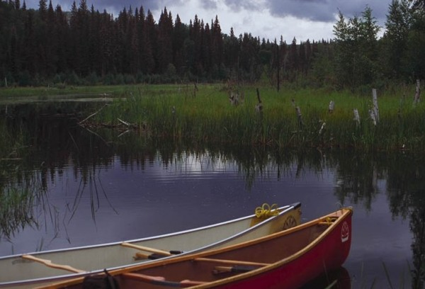 Canoes on a northern Saskatchewan creek