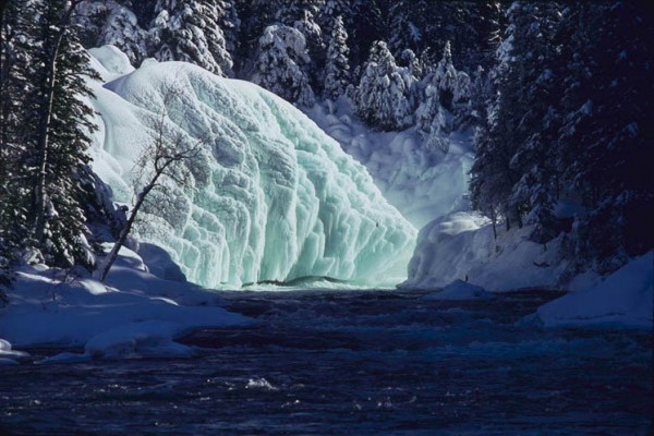 Massive ice sculptures at Nistowiak Falls, Churchill River
