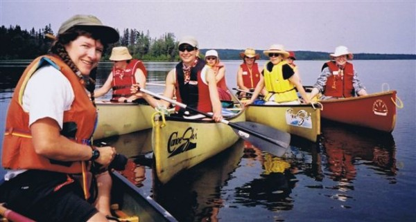 CanoeSki Women and Waves tour group on the Churchill River