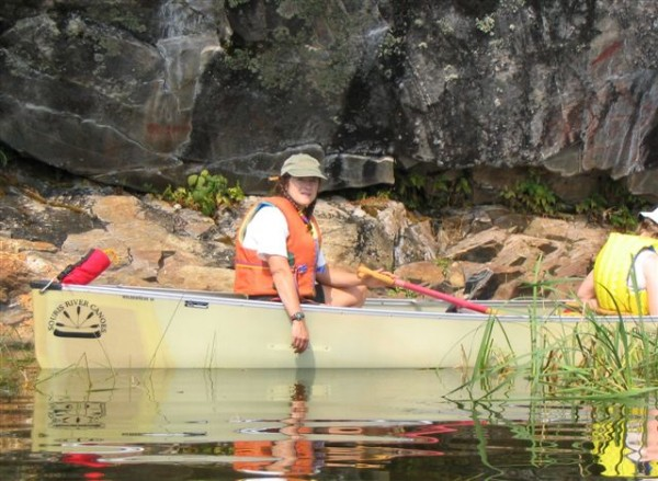 CanoeSki Women and Waves tour at Rattler Creek rock paintings