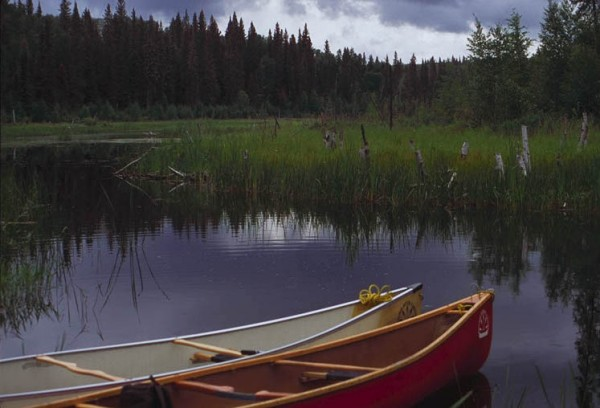 Canoes on a Churchill River tributary