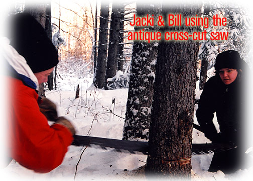 Jacki and Bill using the antique cross-cut saw