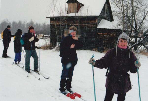 CanoeSki wilderness ski group at Sawyer Lake