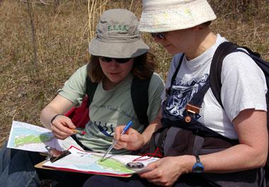 Students on CanoeSki orienteering course