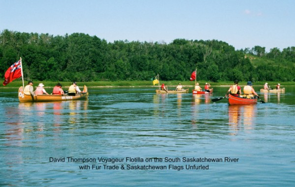 CanoeSki's David Thompson Voyageur canoe tour on the South Saskatchewan River