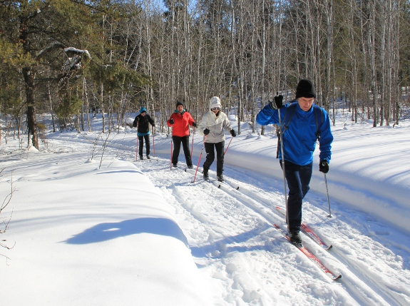 Skiers at Eb's Trails