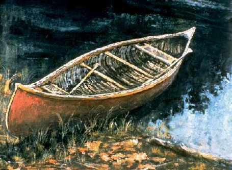 Bill Mason red canoe painting