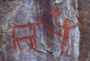 Rock art painting in northern Saskatchewan