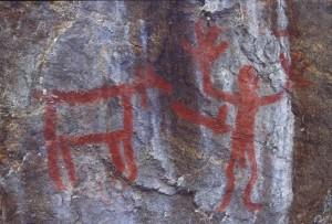 Rock art painting in northern Saskatchewan