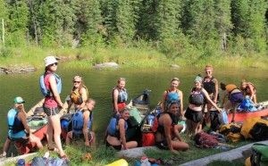 Girls on Churchill River trip
