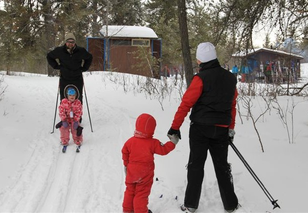 Skiers at Ebs Ski Trails