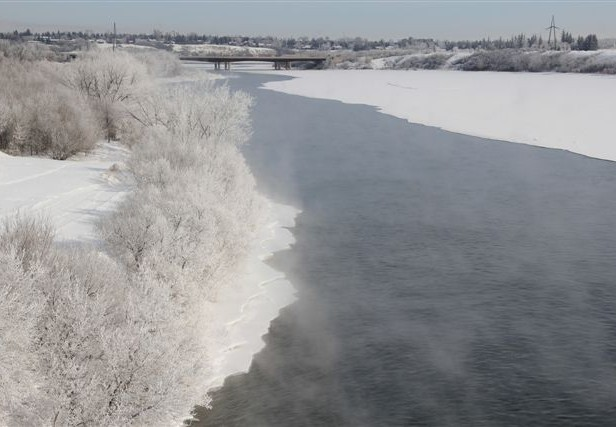 South Sask River in March