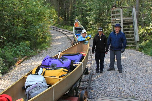 Rail trolley portage Kingsmere River